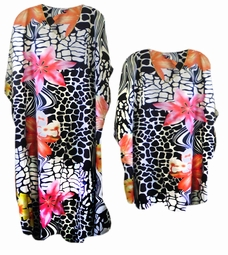 SALE! Black & White Animal Print w/ Colorful Tropical Flowers! Poly/Satin Plus Size & Supersize Caftan Dress or Shirt 1x to 6x