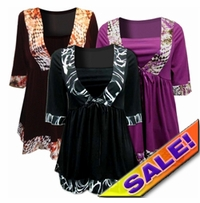 SALE! Black & White Brown & Tan or Magenta Plus Size Babydoll Tie Slinky Shirts 4x 5x 6x