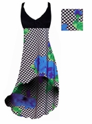 SALE! Black & White Checkerboard With Blue Roses Print Slinky Plus Size Hi-Low Empire Waist Dress add Matching Wrap 1x 7x
