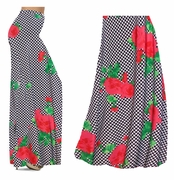 SALE! Black & White Checkerboard With Red Roses Slinky Print Special Order Plus Size & Supersize Palazzo Pants or Skirts 7x