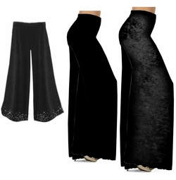 CLEARANCE! Black Wide Leg Palazzo Pants in Slinky, Velvet or Cotton Fabric - Plus Size & Supersize XL 0x 1x 2x 4x 5x 6x 8x 9x