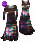 SOLD OUT! SALE! Black With Rainbow Rows Metallic Shiny Slinky Print Plus Size & Supersize Standard or Cascading A-Line Dresses 1x 2x