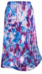 SOLD OUT! Celebration Blast Blue and Dark Purple Tie Dye Plus Size Mid Length Petite and Standard Length Skirts 4x/34W 34WP 5x/36W