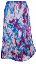 SALE! Blue and Dark Purple Tie Dye Plus Size Mid Length Petite and Standard Length Skirts 3xP/34W 4x/36W 7x/42W