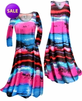 SOLD OUT! CLEARANCE! Blue, Black and Hot Pink Paint Brushstrokes Slinky Print Plus Size A-Line Dresses 0x