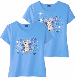 SALE! Blue Fairy Kitten & Add Rhinestuds Light Blue Round Neck Plus Size Petite T-Shirt 2x 3x