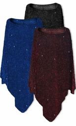 SALE! Blue, Black & Black or Black & Red Glimmer Slinky Plus Size Supersize Ponchos