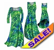 SOLD OUT! CLEARANCE! Blue & Green Tropical Flowers & Spots Print Slinky Plus Size & Supersize Dresses 1x