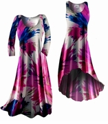 SOLD OUT! SALE! Blue Pink White Floral Splash Slinky Plus Size & Supersize Dresses 2x