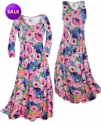 SALE! Blue & Pink Wildflowers Slinky Print Plus Size & Supersize Standard or Cascading A-Line or Princess Cut Dresses 2x