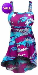 SALE! Blue & Purple Floral Seas Plus Size Swimdress 2pc Hi-Lo Cascading Supersize Swimwear 1x 1xT 2x 3x