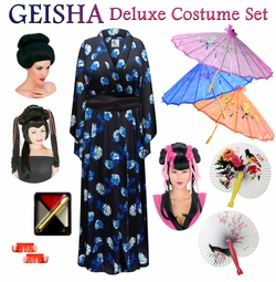 SALE! Blue Rose Print Geisha Costume Plus Size & Supersize 0x 1x 2x 3x 4x 5x 6x 7x 8x 9x