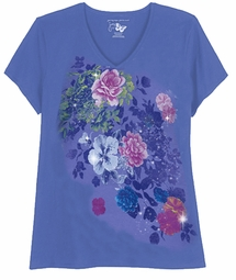SALE! Periwinkle Blue With Rose Bursts Glittery Floral Plus Size T-Shirt 4x