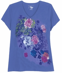 SALE! Periwinkle Blue With Rose Bursts Glittery Floral Plus Size T-Shirt 4x 5x