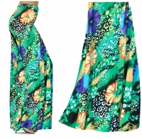 CLEARANCE! Blue & Yellow Floral Speckled Paradise Slinky Print Plus Size Skirts & Palazzo Pants 1x
