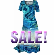 FINAL SALE! Blue & Yellow Wild Animal Print Slinky Plus Size & Supersize Dresses 1x