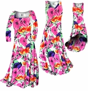 CLEARANCE! Bright Pink & Orange Bellflowers Floral Slinky Print Plus Size A-Line Dresses 0x