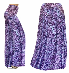 SALE! Bright Purple & Light Blue Leopard Spots Slinky Print Special Order Plus Size & Supersize Pants, Capri's, Palazzos or Skirts! 4x