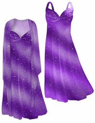SALE! Brilliant Purple Glitter Oblique 2 Piece  Plus Size SuperSize Princess Seam Dress Set 1x