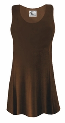 CLEARANCE!  Brown Slinky Plus Size & Supersize Sleevless Shirt 2x
