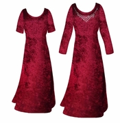 SALE! Burgundy Crush Velvet Plus Size & Supersize Sleeve Dress 0x