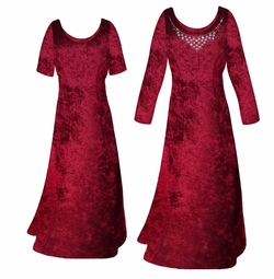 SALE! Burgundy Crush Velvet Plus Size & Supersize Sleeve Dress 0x 6x 8x