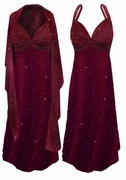 SOLD OUT! SALE! 2-Piece Burgundy Slinky w/ Gold Glitter Dots - Plus Size & SuperSize Princess Seam Dress Set 2x