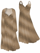 SALE! Cafe' Au Lait! Brilliant Brown & Tan Glitter Oblique 2 Piece  Plus Size SuperSize Princess Seam Dress Set 0X