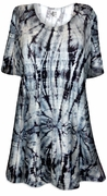 CLEARANCE! Charcoal Hurricane Tie Dye Print Plus Size & Supersize Extra Long T-Shirts 2x 5x