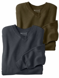 SALE! Charcoal or Dark Olive Heavy Weight Thermal V Neck Plus Size Long Sleeve Tops 5x