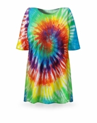 CLEARANCE! Classic Rainbow Swirl Tie Dye Plus Size & Supersize X-Long T-Shirt 1x