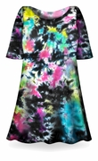 SALE! Cloudy Tropical Sky Black, Hot Pink, Green, Blue Tie Dye Supersize X-Long Plus Size T-Shirt + Add Rhinestones 0x 1x 2x 3x 4x 5x 6x 8x 9x