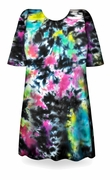 CLEARANCE! Cloudy Tropical Sky Black, Hot Pink, Green, Blue Tie Dye Plus Size T-Shirt 2xl 6xl