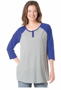 SALE! Colorblock Blue or Purple Henley Baseball Style Plus Size Top 4x 5x