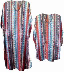 SALE! Colorful Aztec Type Print Plus Size Caftan Dress or Shirt 1x to 6x