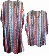 FINAL SALE! Colorful Aztec Type Print Plus Size Caftan Dress or Shirt 1x to 6x