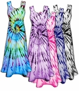 SALE! Colorful Swirl Tie Dye Poly Cotton Print Plus Size Super Size Princess Cut Tank Dresses 1x 2x 3x 4x 5x 6x 8x