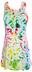 SALE! Colorful White With Lime Green, Red, Yellow, Fuschia Princess Cut Extra Long Sleeveless Plus Size Supersize Tank Top 1x 2x 3x 4x 5x 6x 7x 8x