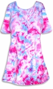 SALE! Cotton Candy Blue & Pink Tie Dye Plus Size Supersize A-Line or Princess Seam X-Long T-Shirt 1x 2x 3x 4x 5x 6x 8x
