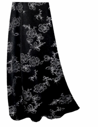 SALE! Customizable Black w/ Silver Daisies Glitter Slinky Print Plus Size & Supersize Skirts - Sizes Lg to 9x