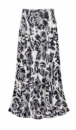 SALE! Customizable Black & White Floral With Sparkles Slinky Print Plus Size & Supersize Skirts - Sizes Lg to 9x