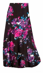 SALE! Customizable Black With Fuchsia Rose Buds Slinky Print Plus Size & Supersize Skirts - Sizes Lg to 9x