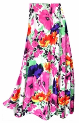 SALE! Customizable Bright Pink & Orange Bellflowers Floral Slinky Print Plus Size & Supersize Skirts - Sizes Lg XL 1x 2x 3x 4x 5x 6x 7x 8x 9x