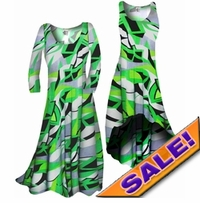 SALE! Customizable! Green Abstract Geometric Slinky Print Plus Size & Supersize Standard or Cascading A-Line or Princess Cut Dresses & Shirts, Jackets, Pants, Palazzo's or Skirts Lg to 9x