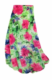 SALE! Customizable Green & Pink Floral Slinky Print Plus Size & Supersize Skirts - Sizes Lg to 9x