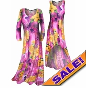 SALE! Customizable! Lightweight Pink & Orange Floral Print Slinky Plus Size & Supersize Straight or Cascading A-Line or Princess Cut Dresses & Shirts, Jackets, Pants, Palazzo's or Skirts Lg XL 0x 1x 2x 3x 4x 5x 6x 7x 8x 9x