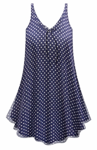 SALE! Customizable Navy With White Polka Dots Print Sheer A-Line Overshirt Supersize & Plus Size Top 0x 1x 2x 3x 4x 5x 6x 7x 8x