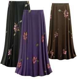 SALE! Customizable Painterly Florals Slinky Print Plus Size & Supersize Skirts - Sizes Lg to 9x