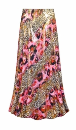 SALE! Customizable Pink Leopard with Gold Metallic Slinky Print Plus Size & Supersize Skirts - Sizes Lg to 9x