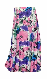 SALE! Customizable Pink, Purple, and Blue Bellflowers Slinky Print Plus Size & Supersize Skirts - Sizes Lg XL 1x 2x 3x 4x 5x 6x 7x 8x 9x